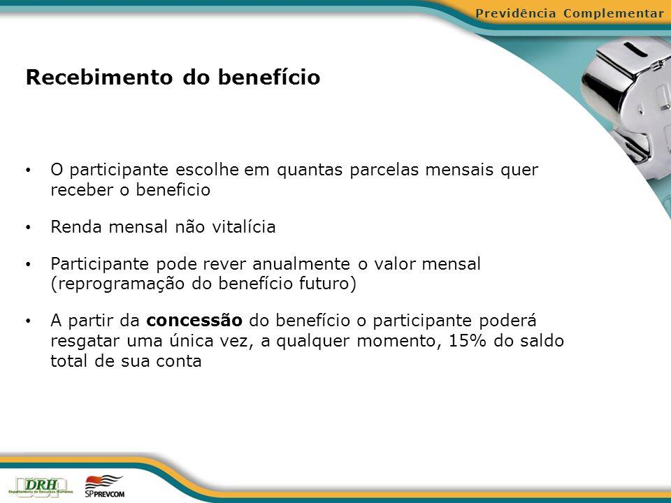 Recebimento do benefício O participante escolhe em quantas parcelas mensais quer receber o beneficio Renda mensal não vitalícia Participante pode reve