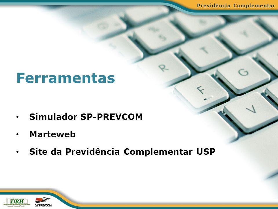 Ferramentas Simulador SP-PREVCOM Marteweb Site da Previdência Complementar USP