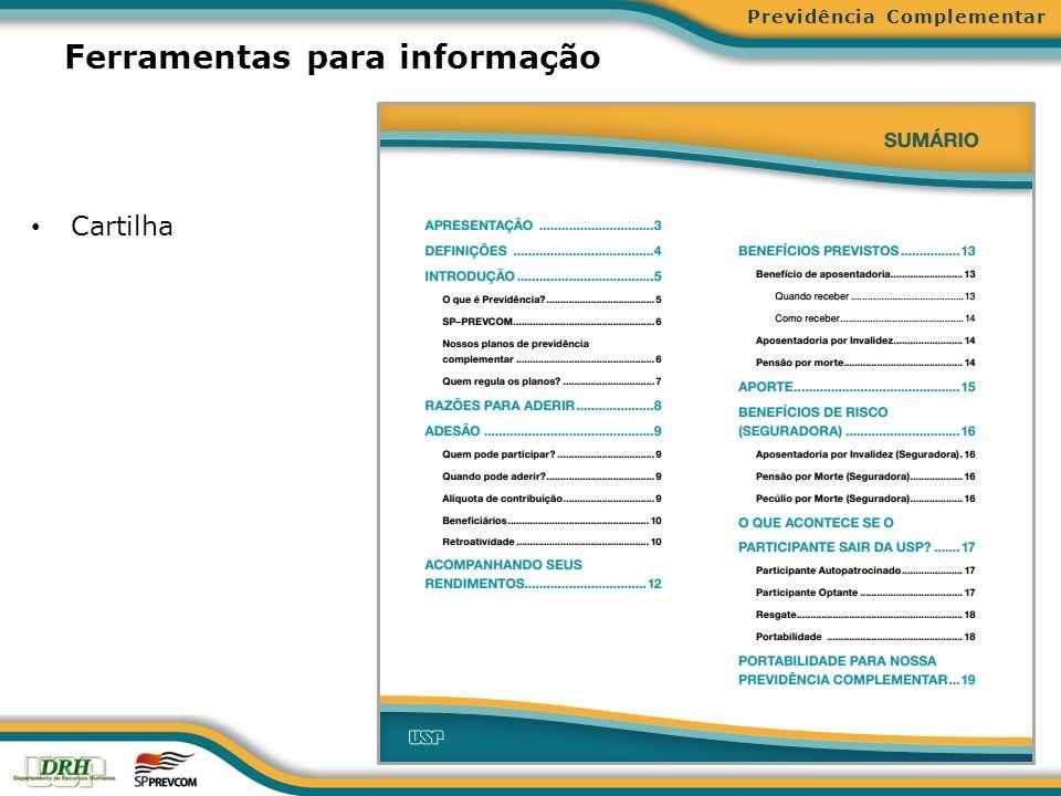 Ferramentas para informação Cartilha Previdência Complementar
