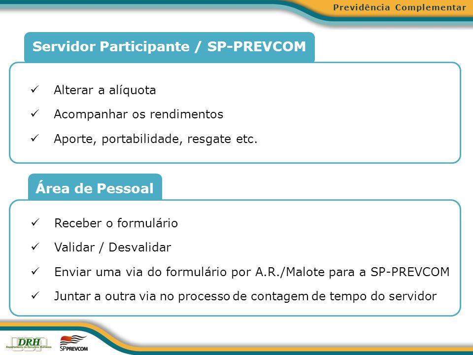 Área de Pessoal Servidor Participante / SP-PREVCOM Alterar a alíquota Acompanhar os rendimentos Aporte, portabilidade, resgate etc. Receber o formulár