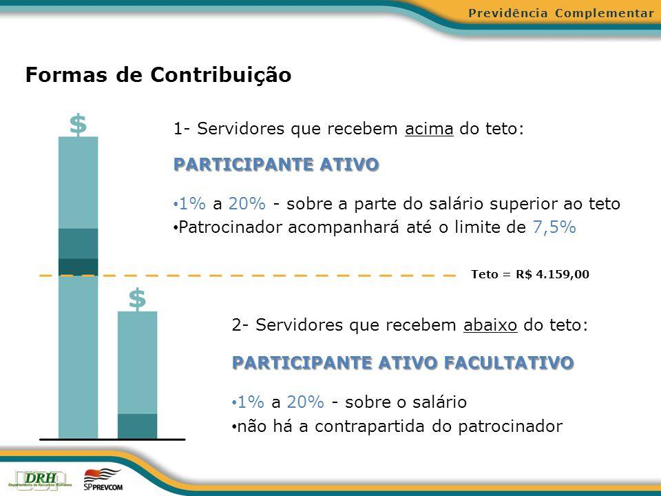 Formas de Contribuição 1- Servidores que recebem acima do teto: PARTICIPANTE ATIVO 1% a 20% - sobre a parte do salário superior ao teto Patrocinador a