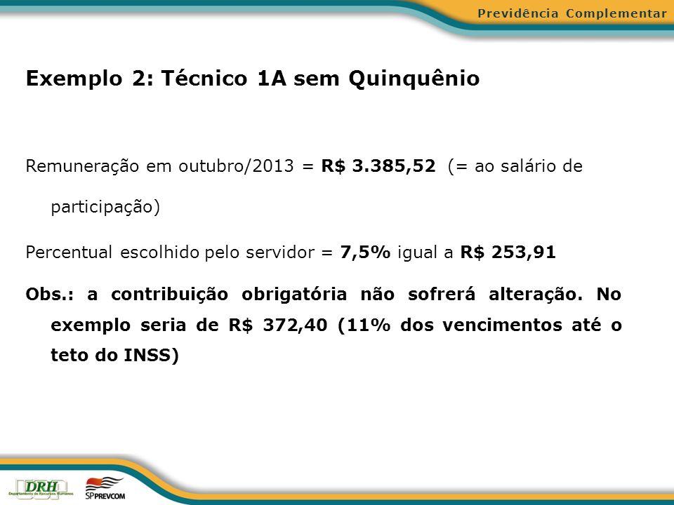 Exemplo 2: Técnico 1A sem Quinquênio Remuneração em outubro/2013 = R$ 3.385,52 (= ao salário de participação) Percentual escolhido pelo servidor = 7,5