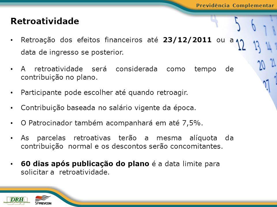 Retroatividade Retroação dos efeitos financeiros até 23/12/2011 ou a data de ingresso se posterior. A retroatividade será considerada como tempo de co