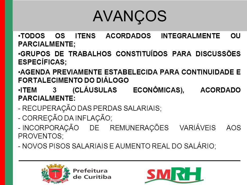 AVANÇOS TODOS OS ITENS ACORDADOS INTEGRALMENTE OU PARCIALMENTE; GRUPOS DE TRABALHOS CONSTITUÍDOS PARA DISCUSSÕES ESPECÍFICAS; AGENDA PREVIAMENTE ESTABELECIDA PARA CONTINUIDADE E FORTALECIMENTO DO DIÁLOGO ITEM 3 (CLÁUSULAS ECONÔMICAS), ACORDADO PARCIALMENTE: - RECUPERAÇÃO DAS PERDAS SALARIAIS; - CORREÇÃO DA INFLAÇÃO; - INCORPORAÇÃO DE REMUNERAÇÕES VARIÁVEIS AOS PROVENTOS; - NOVOS PISOS SALARIAIS E AUMENTO REAL DO SALÁRIO;