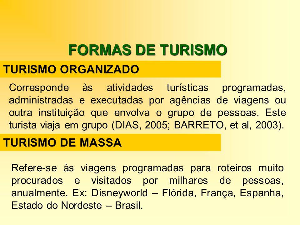 FORMAS DE TURISMO TURISMO ORGANIZADO TURISMO DE MASSA Corresponde às atividades turísticas programadas, administradas e executadas por agências de via