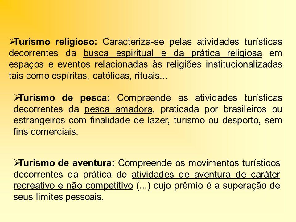 Turismo religioso: Caracteriza-se pelas atividades turísticas decorrentes da busca espiritual e da prática religiosa em espaços e eventos relacionadas