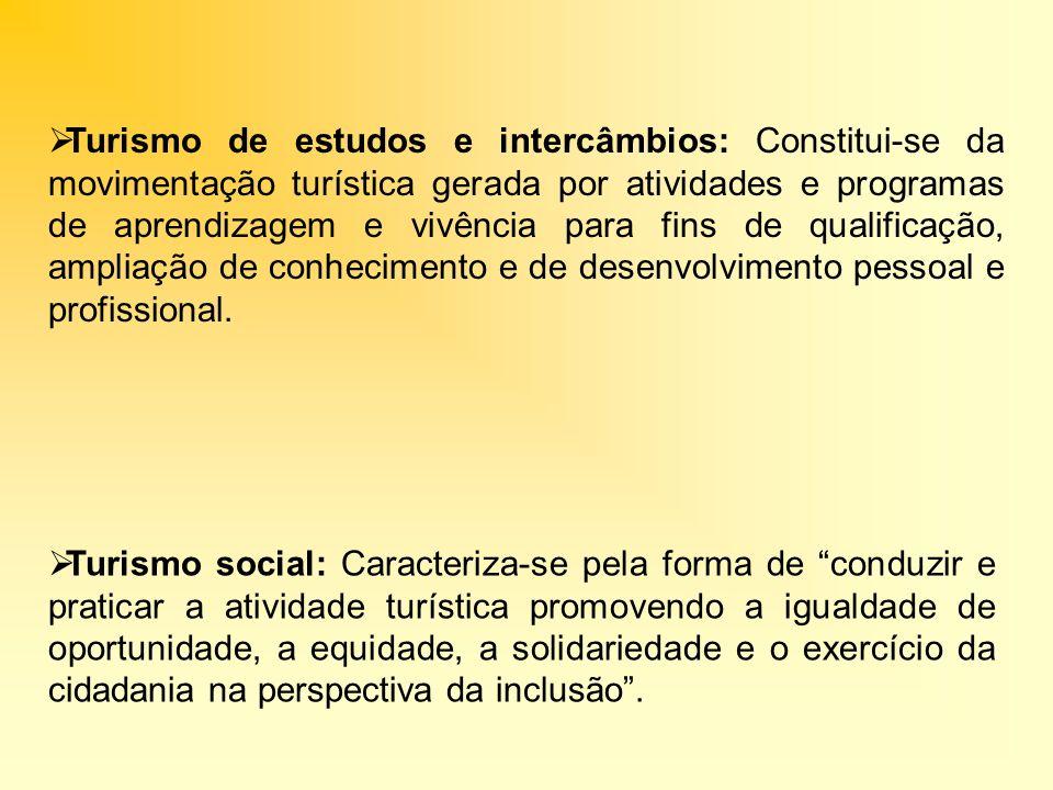 Turismo de estudos e intercâmbios: Constitui-se da movimentação turística gerada por atividades e programas de aprendizagem e vivência para fins de qu