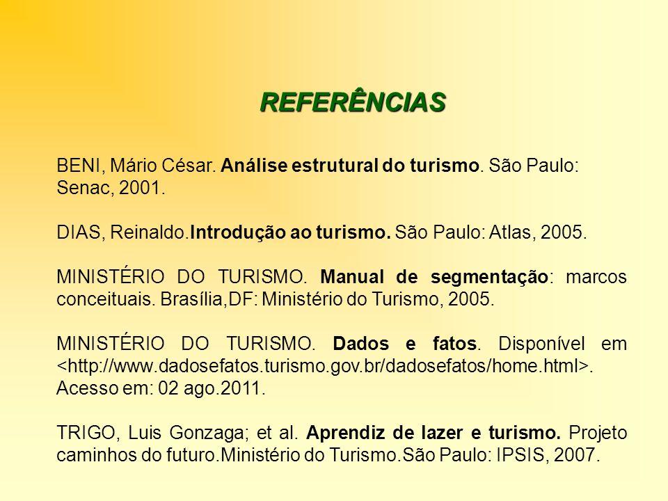 REFERÊNCIAS BENI, Mário César. Análise estrutural do turismo. São Paulo: Senac, 2001. DIAS, Reinaldo.Introdução ao turismo. São Paulo: Atlas, 2005. MI