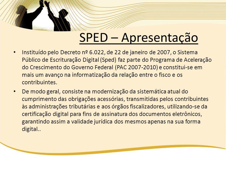 Instituído pelo Decreto nº 6.022, de 22 de janeiro de 2007, o Sistema Público de Escrituração Digital (Sped) faz parte do Programa de Aceleração do Cr