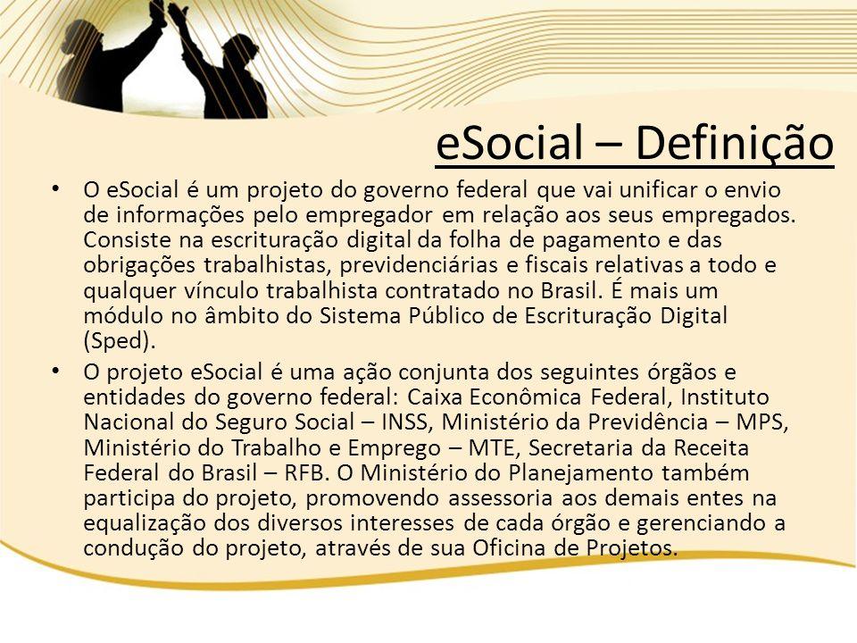 O eSocial é um projeto do governo federal que vai unificar o envio de informações pelo empregador em relação aos seus empregados. Consiste na escritur