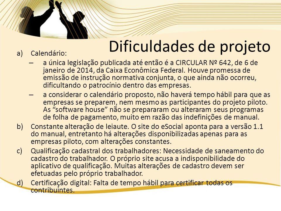 a)Calendário: – a única legislação publicada até então é a CIRCULAR Nº 642, de 6 de janeiro de 2014, da Caixa Econômica Federal. Houve promessa de emi
