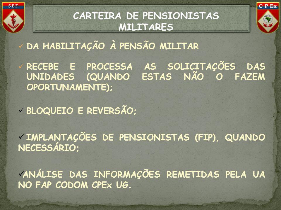 CARTEIRA DE PENSIONISTAS MILITARES DA HABILITAÇÃO À PENSÃO MILITAR RECEBE E PROCESSA AS SOLICITAÇÕES DAS UNIDADES (QUANDO ESTAS NÃO O FAZEM OPORTUNAME