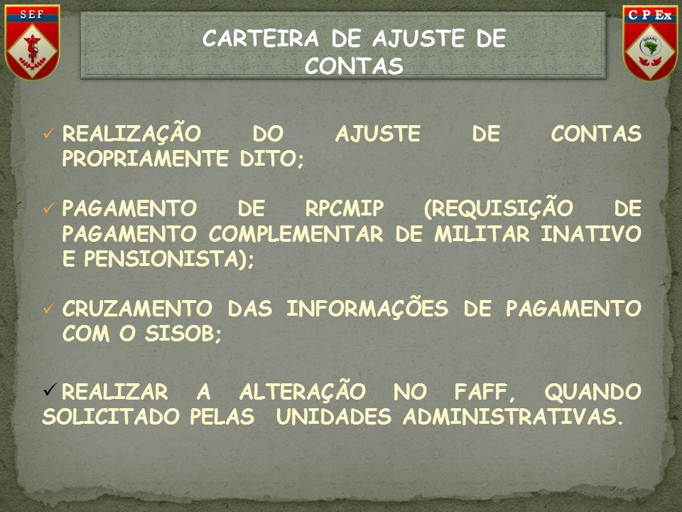 CARTEIRA DE AJUSTE DE CONTAS REALIZAÇÃO DO AJUSTE DE CONTAS PROPRIAMENTE DITO; PAGAMENTO DE RPCMIP (REQUISIÇÃO DE PAGAMENTO COMPLEMENTAR DE MILITAR IN