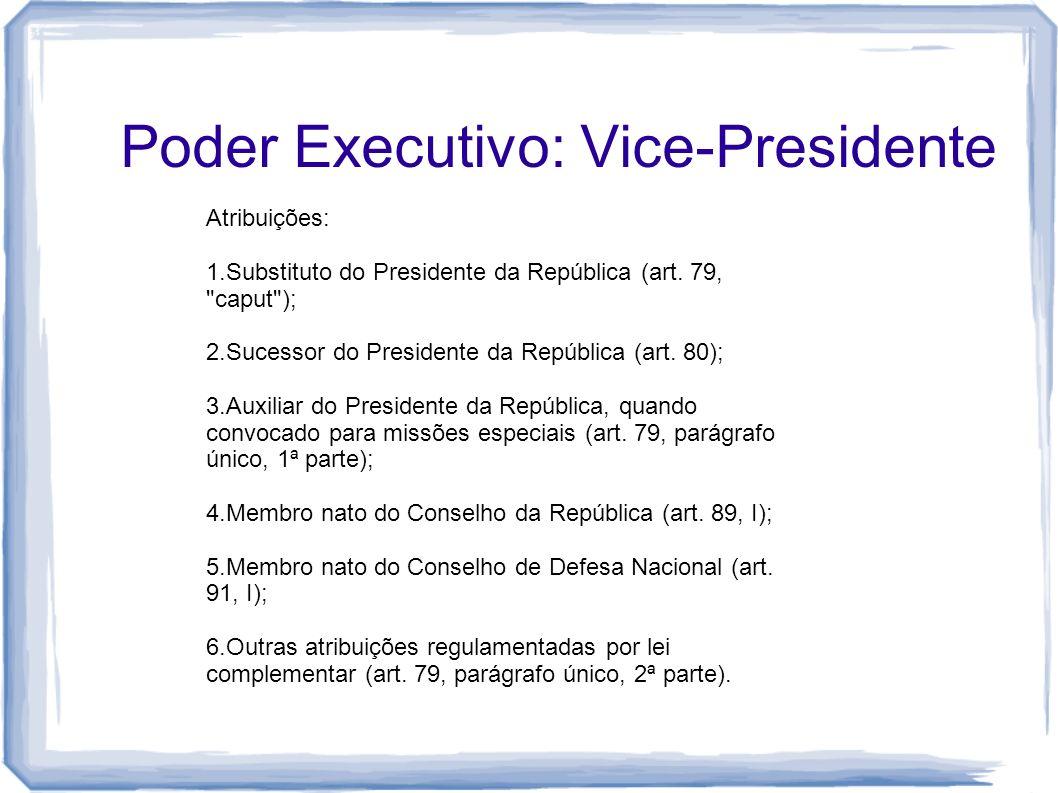 Poder Executivo: Vice-Presidente Atribuições: 1.Substituto do Presidente da República (art. 79,