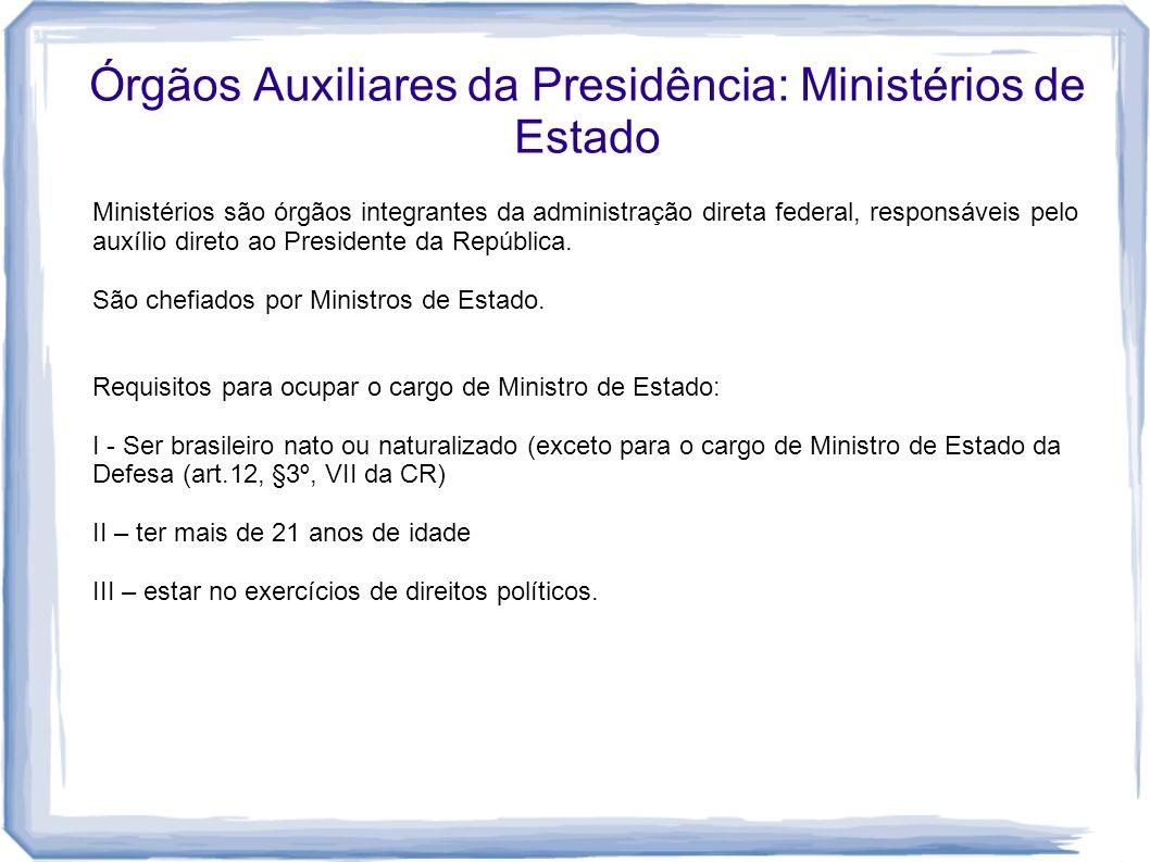 Órgãos Auxiliares da Presidência: Ministérios de Estado Ministérios são órgãos integrantes da administração direta federal, responsáveis pelo auxílio