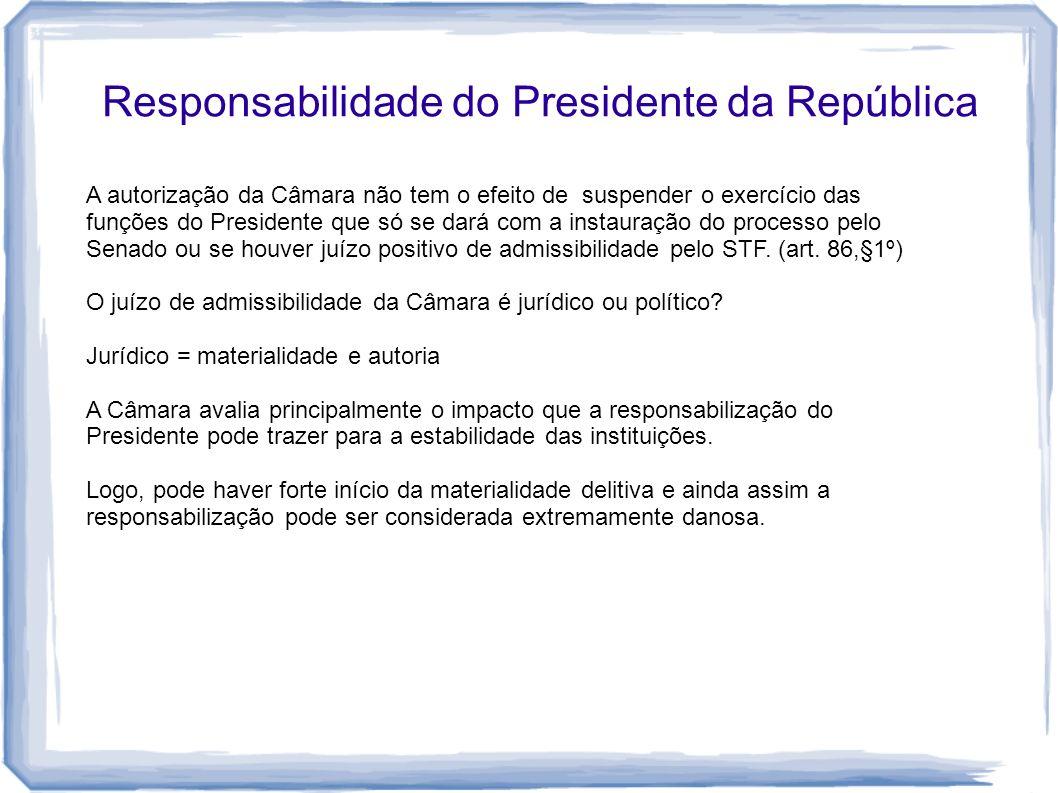 Responsabilidade do Presidente da República A autorização da Câmara não tem o efeito de suspender o exercício das funções do Presidente que só se dará