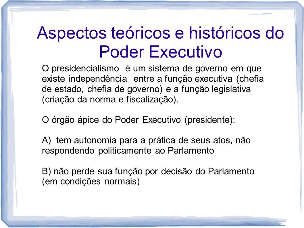 Aspectos teóricos e históricos do Poder Executivo O presidencialismo é um sistema de governo em que existe independência entre a função executiva (che