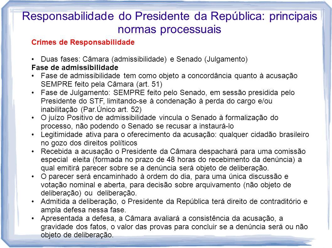 Responsabilidade do Presidente da República: principais normas processuais Crimes de Responsabilidade Duas fases: Câmara (admissibilidade) e Senado (J
