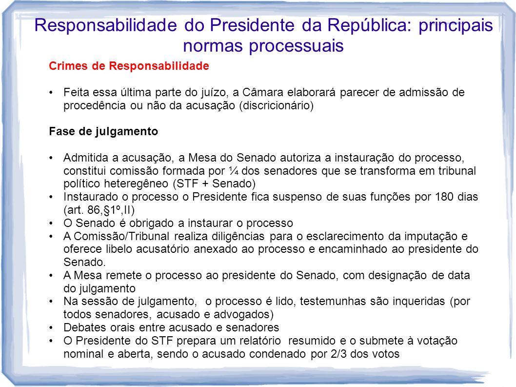 Responsabilidade do Presidente da República: principais normas processuais Crimes de Responsabilidade Feita essa última parte do juízo, a Câmara elabo