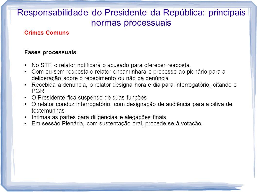 Responsabilidade do Presidente da República: principais normas processuais Crimes Comuns Fases processuais No STF, o relator notificará o acusado para