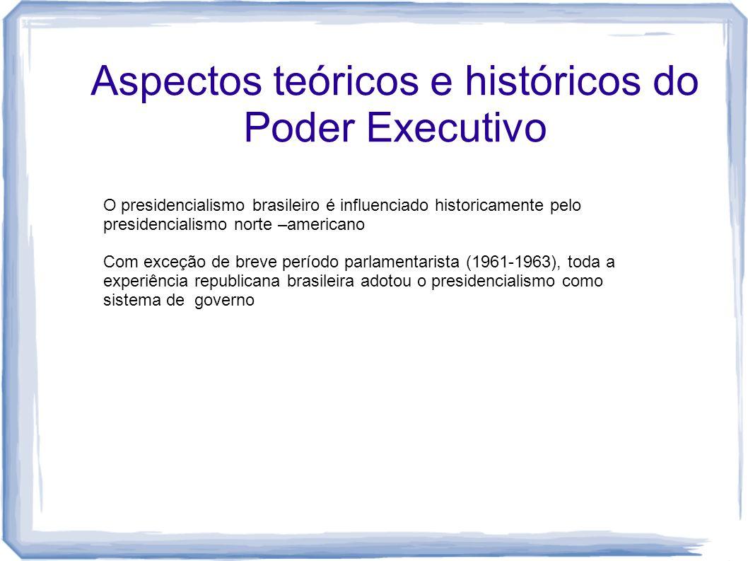Aspectos teóricos e históricos do Poder Executivo O presidencialismo brasileiro é influenciado historicamente pelo presidencialismo norte –americano C