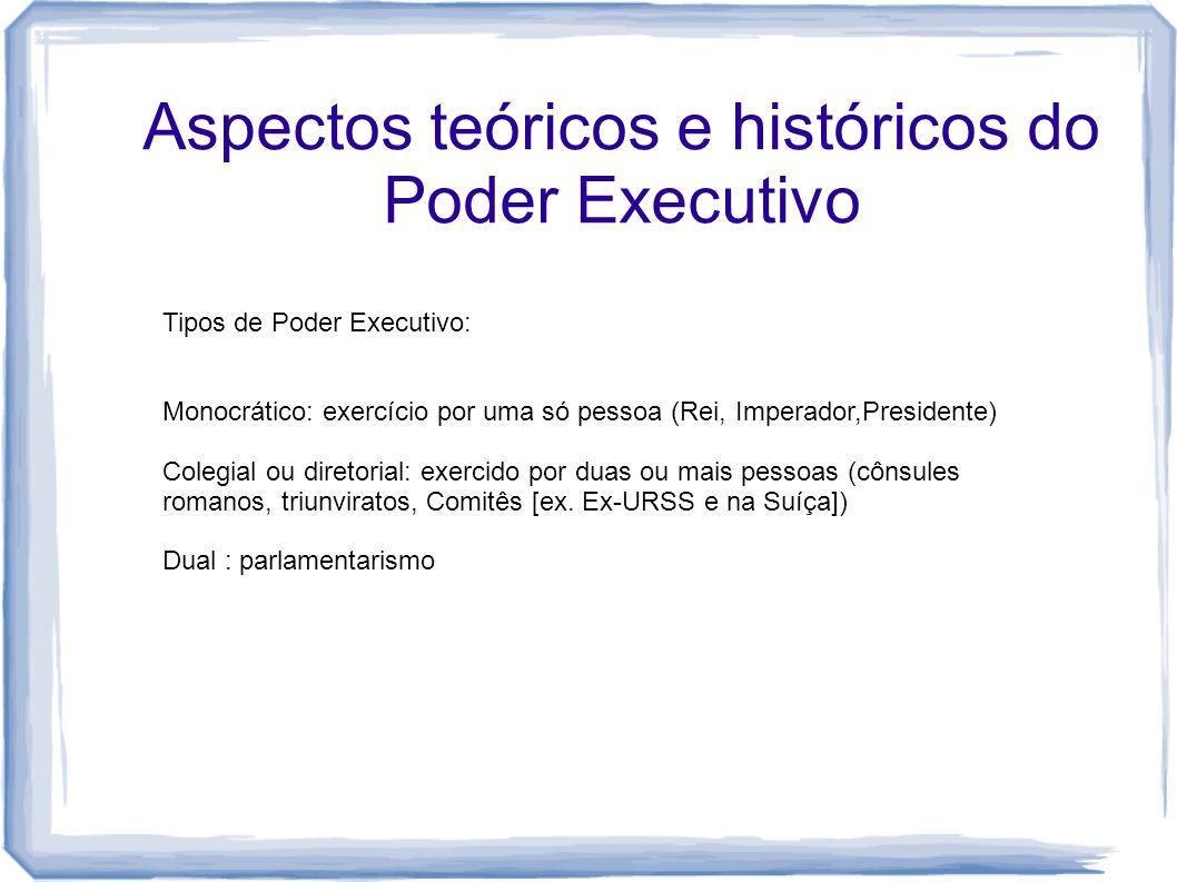 Tipos de Poder Executivo: Monocrático: exercício por uma só pessoa (Rei, Imperador,Presidente) Colegial ou diretorial: exercido por duas ou mais pesso