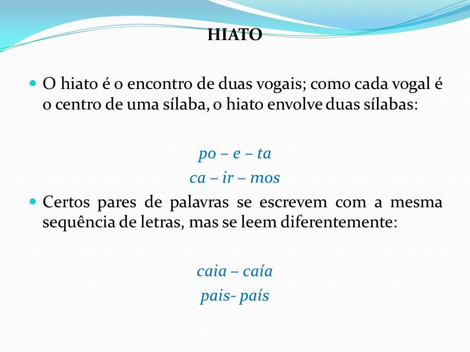 HIATO O hiato é o encontro de duas vogais; como cada vogal é o centro de uma sílaba, o hiato envolve duas sílabas: po – e – ta ca – ir – mos Certos pa