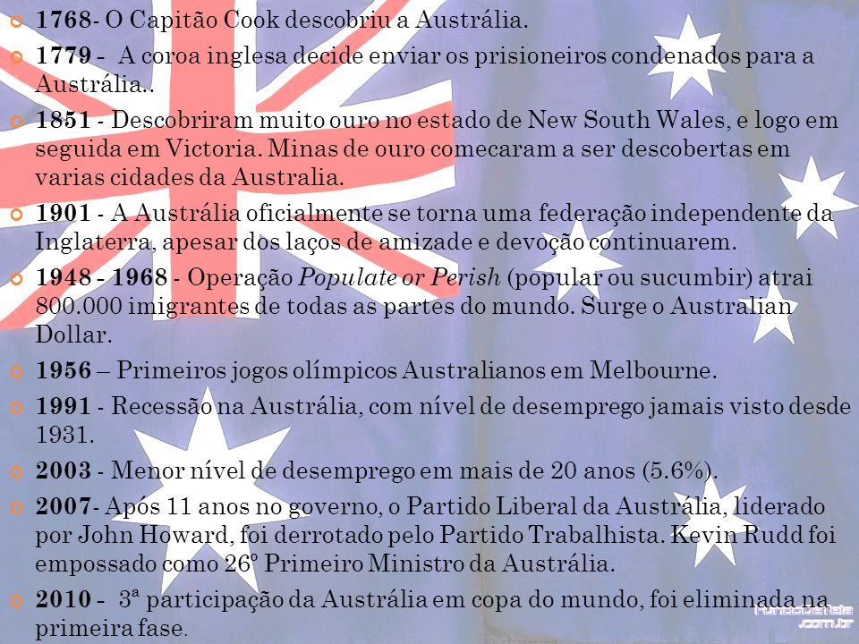 1768 - O Capitão Cook descobriu a Austrália. 1779 - A coroa inglesa decide enviar os prisioneiros condenados para a Austrália.. 1851 - Descobriram mui