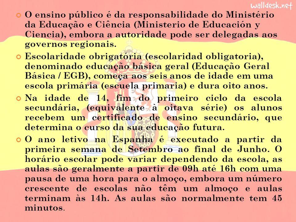 O ensino público é da responsabilidade do Ministério da Educação e Ciência (Ministerio de Educación y Ciencia), embora a autoridade pode ser delegadas