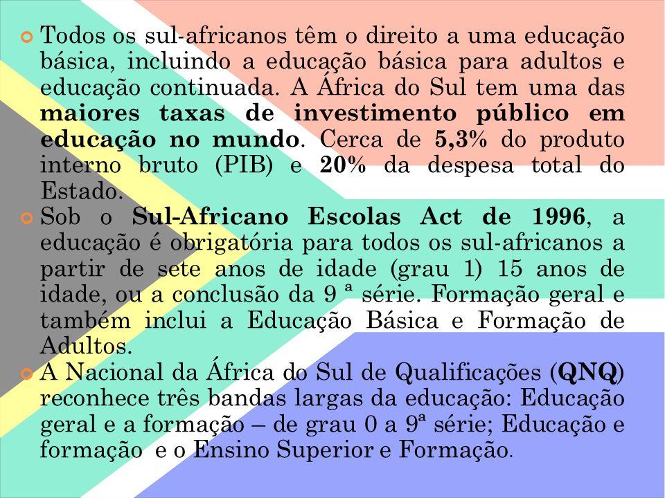 Todos os sul-africanos têm o direito a uma educação básica, incluindo a educação básica para adultos e educação continuada. A África do Sul tem uma da