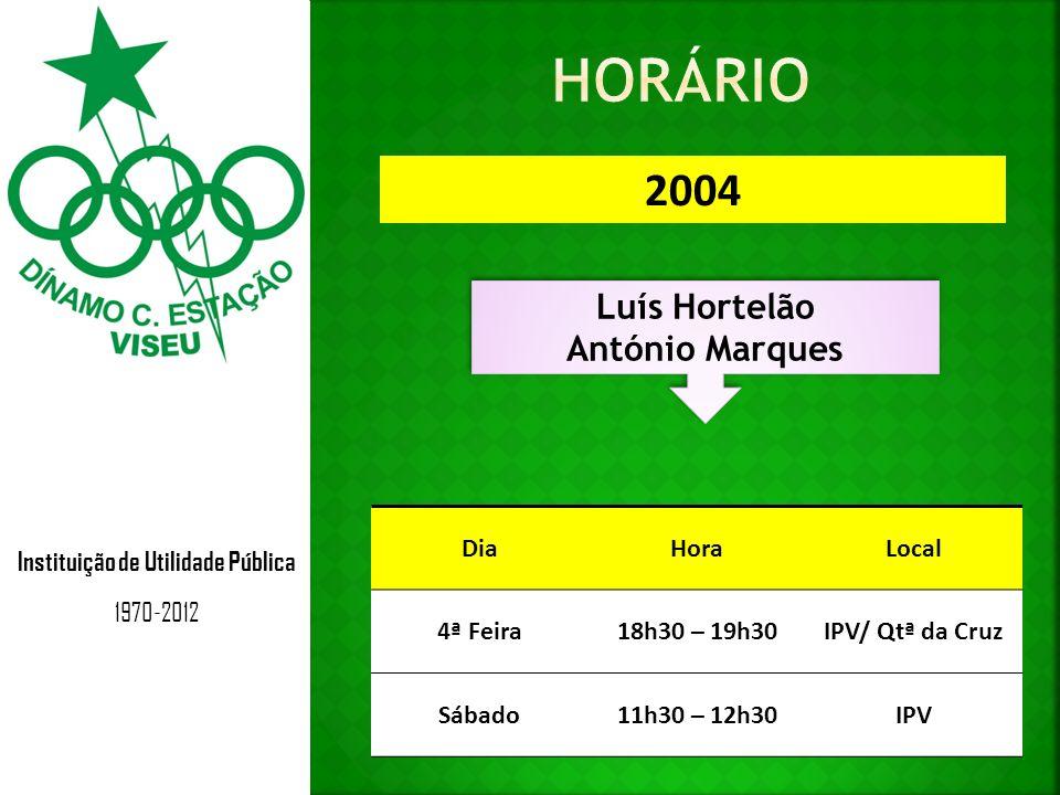 Instituição de Utilidade Pública 1970-2012 2004 Luís Hortelão António Marques Luís Hortelão António Marques DiaHoraLocal 4ª Feira18h30 – 19h30IPV/ Qtª da Cruz Sábado11h30 – 12h30IPV