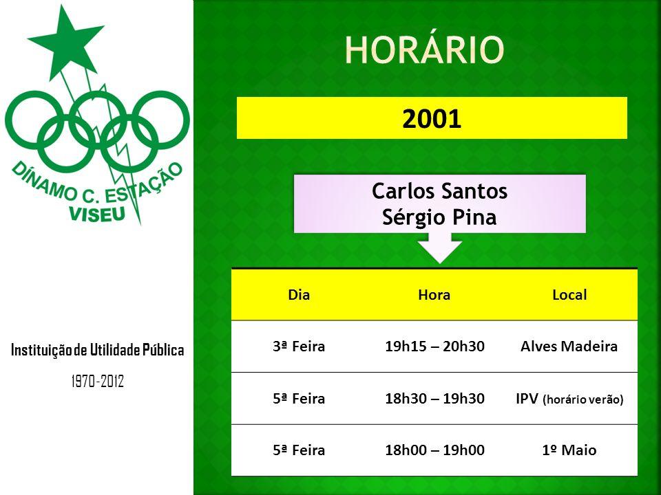 Instituição de Utilidade Pública 1970-2012 2001 Carlos Santos Sérgio Pina Carlos Santos Sérgio Pina DiaHoraLocal 3ª Feira19h15 – 20h30Alves Madeira 5ª