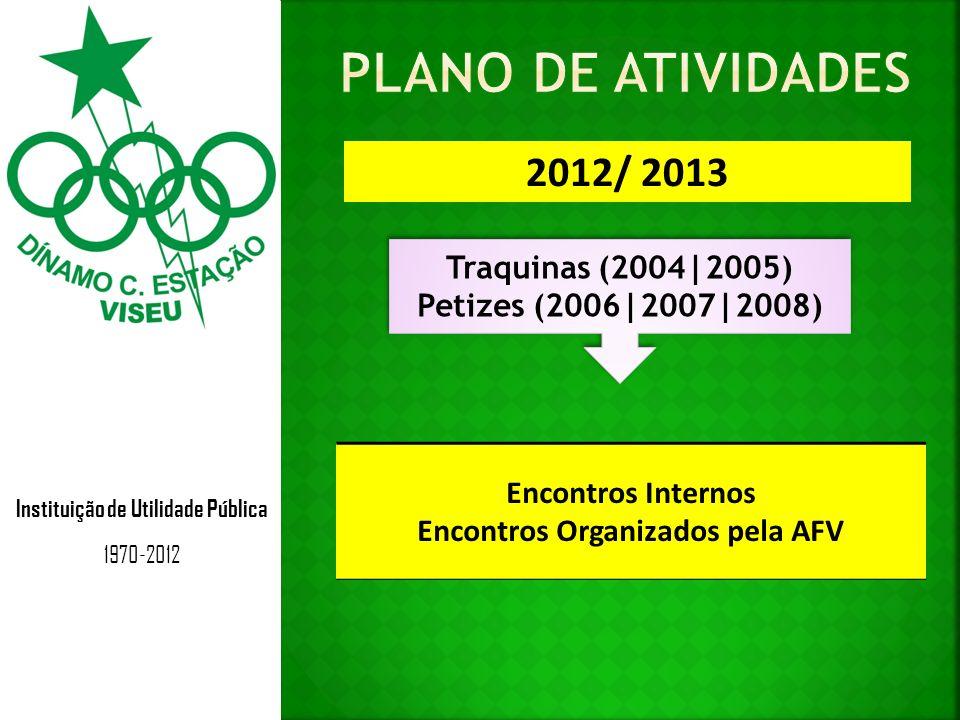 Instituição de Utilidade Pública 1970-2012 2012/ 2013 Traquinas (2004|2005) Petizes (2006|2007|2008) Traquinas (2004|2005) Petizes (2006|2007|2008) Encontros Internos Encontros Organizados pela AFV