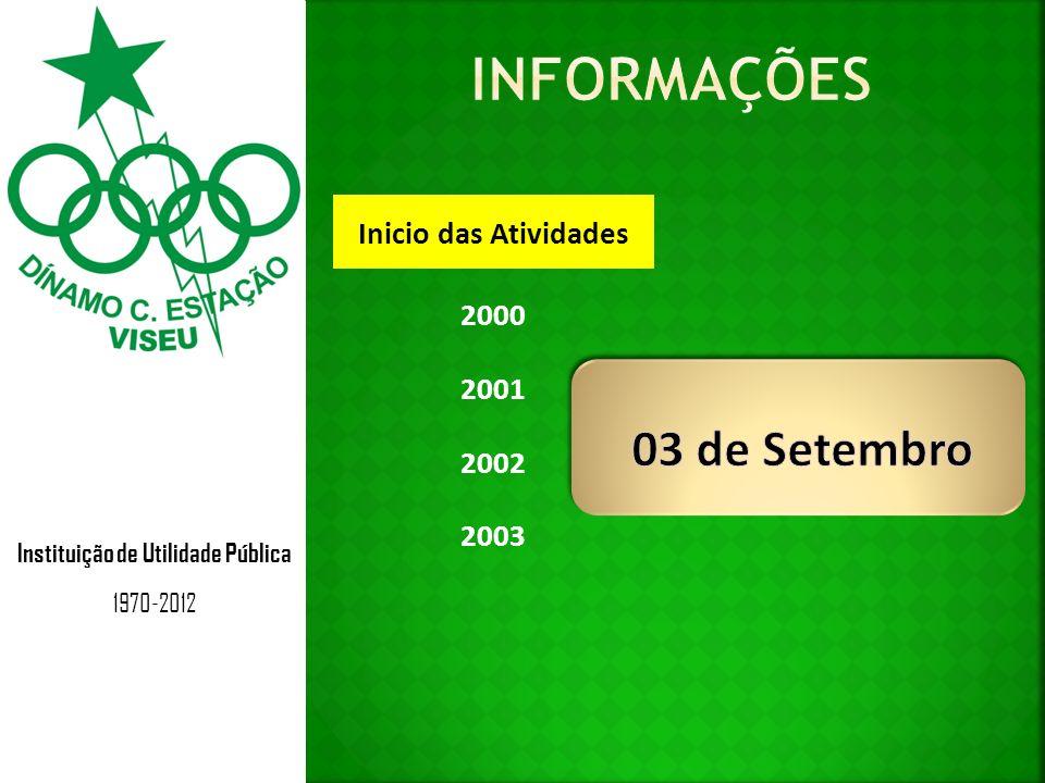 Instituição de Utilidade Pública 1970-2012 Inicio das Atividades 2000 2001 2002 2003