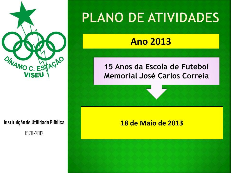 Instituição de Utilidade Pública 1970-2012 Ano 2013 15 Anos da Escola de Futebol Memorial José Carlos Correia 15 Anos da Escola de Futebol Memorial Jo