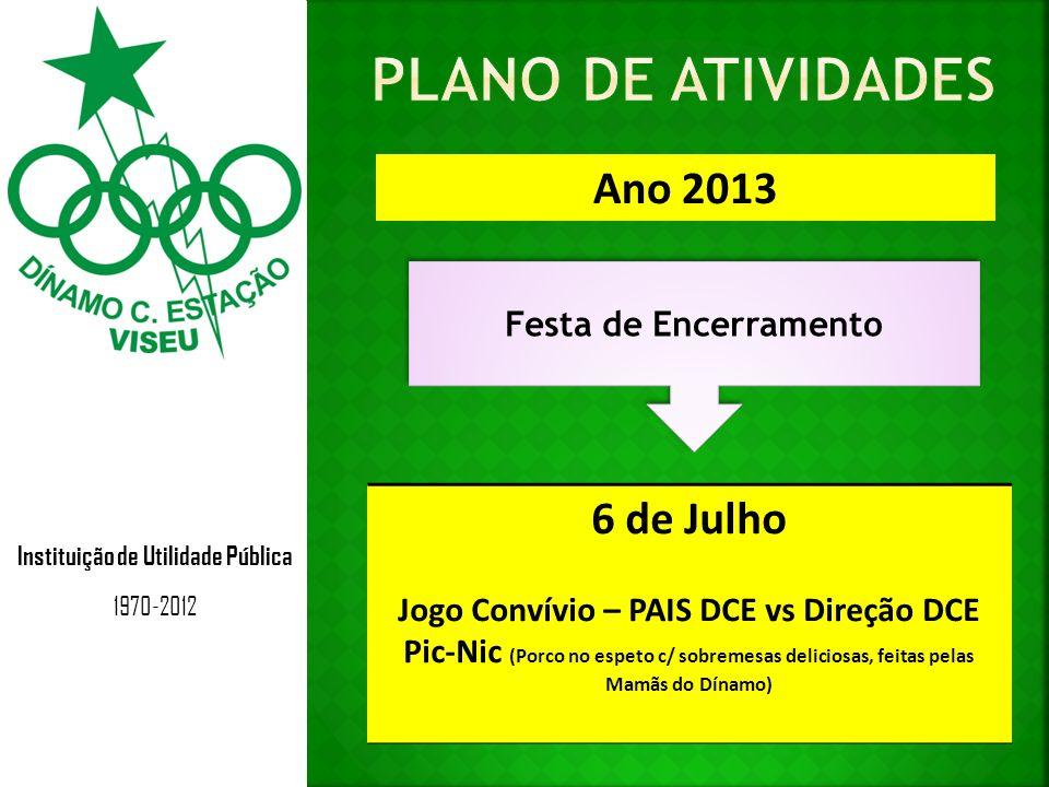 Instituição de Utilidade Pública 1970-2012 Ano 2013 Festa de Encerramento 6 de Julho Jogo Convívio – PAIS DCE vs Direção DCE Pic-Nic (Porco no espeto