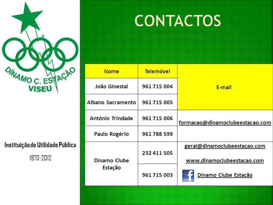 Instituição de Utilidade Pública 1970-2012 NomeTelemóvel E-mail João Ginestal961 715 004 Albano Sacramento961 715 005 António Trindade961 715 006 form