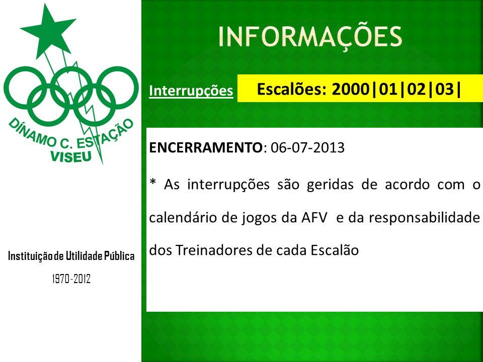 Instituição de Utilidade Pública 1970-2012 Interrupções Escalões: 2000|01|02|03| ENCERRAMENTO: 06-07-2013 * As interrupções são geridas de acordo com