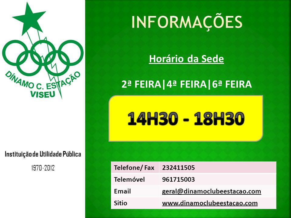 Instituição de Utilidade Pública 1970-2012 Judo - > 13 anos António Boloto DiaHoraLocal 2ª Feira19h00 – 20h30Pavilhão de Judo 4ª Feira19h00 – 20h30Pavilhão de Judo 6ª Feira19h00 – 20h30Pavilhão de Judo