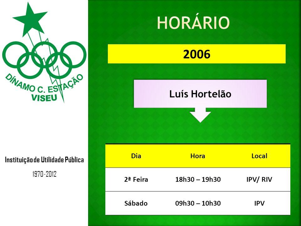 Instituição de Utilidade Pública 1970-2012 2005 Fernando Jesus DiaHoraLocal 5ª Feira18h30 – 19h30IPV/ RIV Sábado10h30 – 11h30IPV