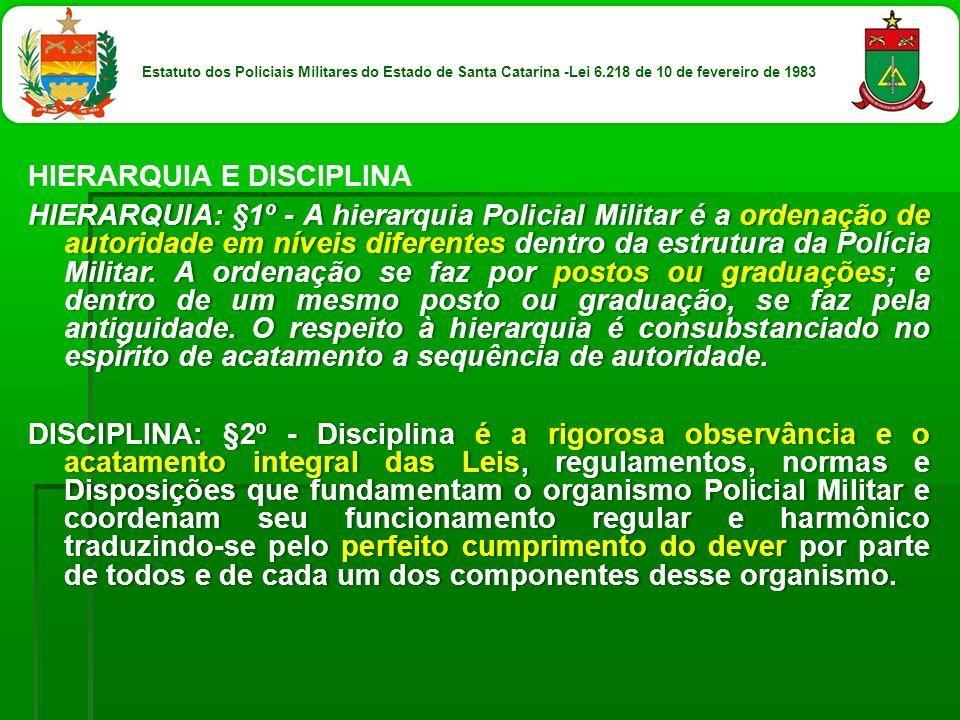HIERARQUIA E DISCIPLINA HIERARQUIA: §1º - A hierarquia Policial Militar é a ordenação de autoridade em níveis diferentes dentro da estrutura da Políci