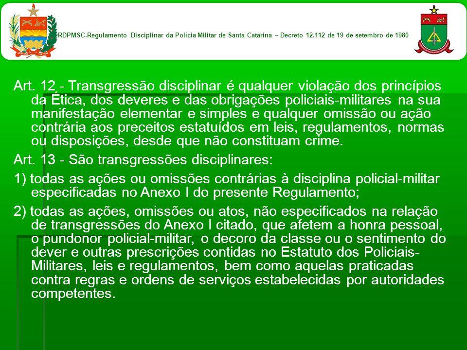 Art. 12 - Transgressão disciplinar é qualquer violação dos princípios da Ética, dos deveres e das obrigações policiais-militares na sua manifestação e
