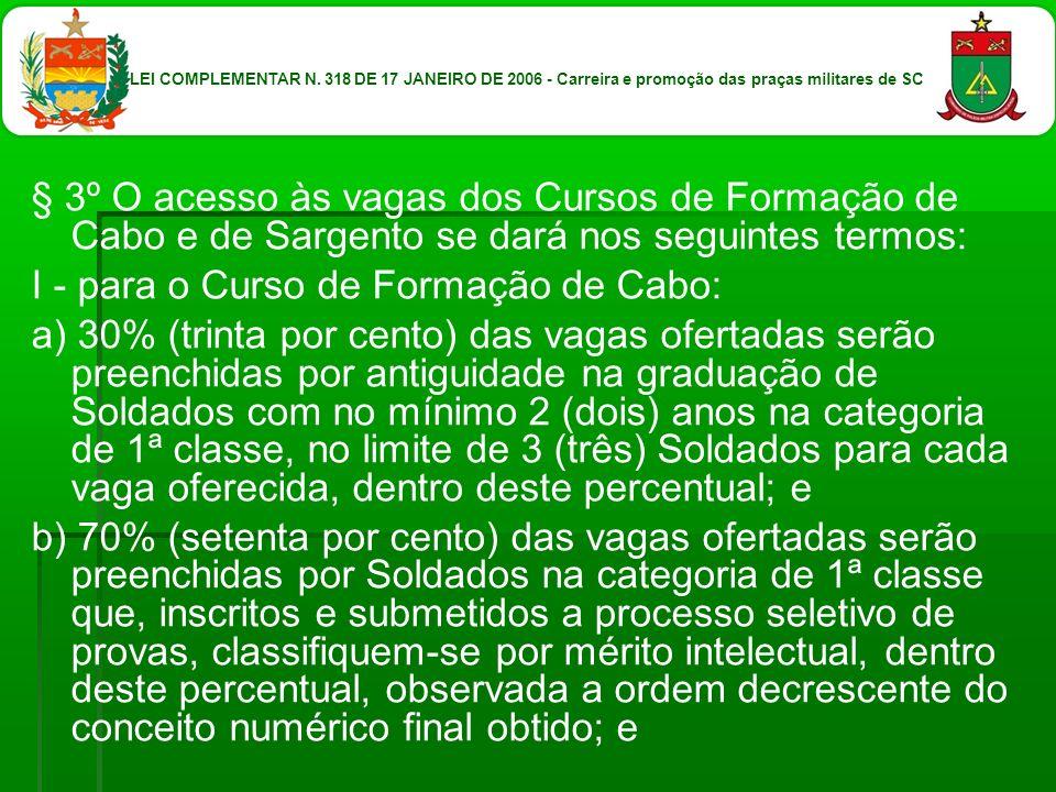 § 3º O acesso às vagas dos Cursos de Formação de Cabo e de Sargento se dará nos seguintes termos: I - para o Curso de Formação de Cabo: a) 30% (trinta