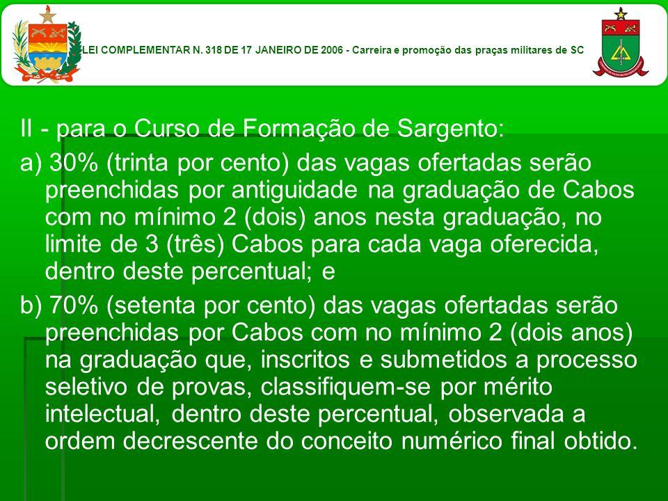 II - para o Curso de Formação de Sargento: a) 30% (trinta por cento) das vagas ofertadas serão preenchidas por antiguidade na graduação de Cabos com n
