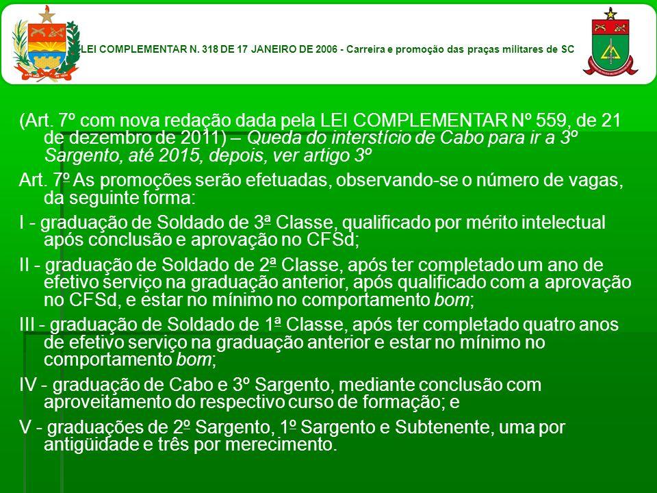 (Art. 7º com nova redação dada pela LEI COMPLEMENTAR Nº 559, de 21 de dezembro de 2011) – Queda do interstício de Cabo para ir a 3º Sargento, até 2015