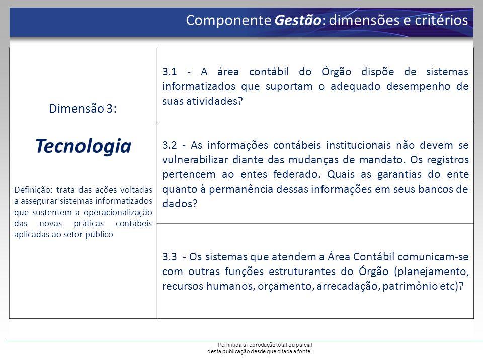 Permitida a reprodução total ou parcial desta publicação desde que citada a fonte. Componente Gestão: dimensões e critérios Dimensão 3: Tecnologia Def