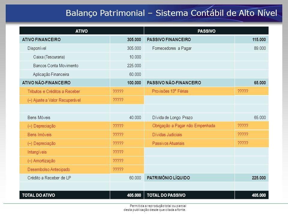 Permitida a reprodução total ou parcial desta publicação desde que citada a fonte. ATIVOPASSIVO ATIVO FINANCEIRO305.000PASSIVO FINANCEIRO115.000 Dispo