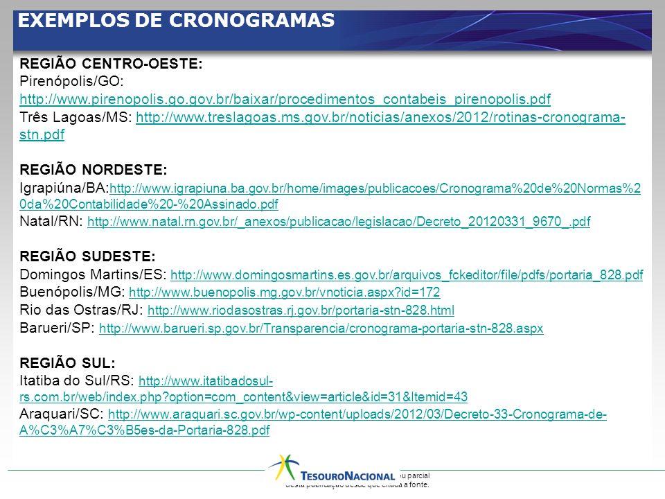 Permitida a reprodução total ou parcial desta publicação desde que citada a fonte. EXEMPLOS DE CRONOGRAMAS REGIÃO CENTRO-OESTE: Pirenópolis/GO: http:/