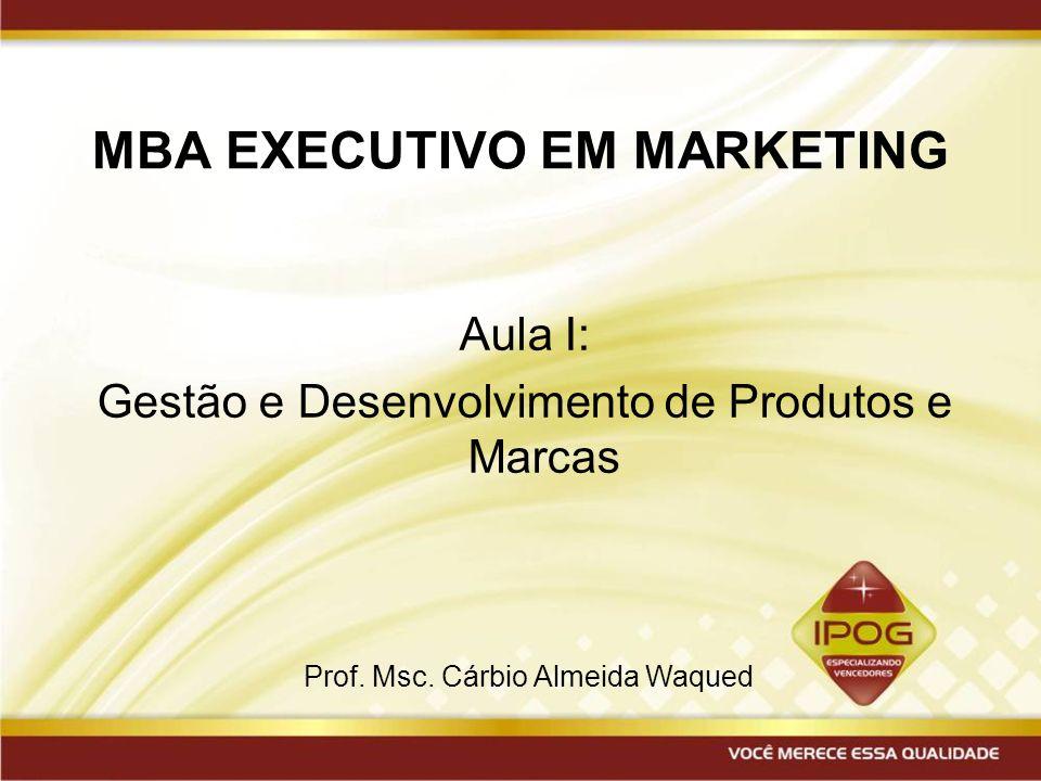 MBA EXECUTIVO EM MARKETING Aula I: Gestão e Desenvolvimento de Produtos e Marcas Prof. Msc. Cárbio Almeida Waqued