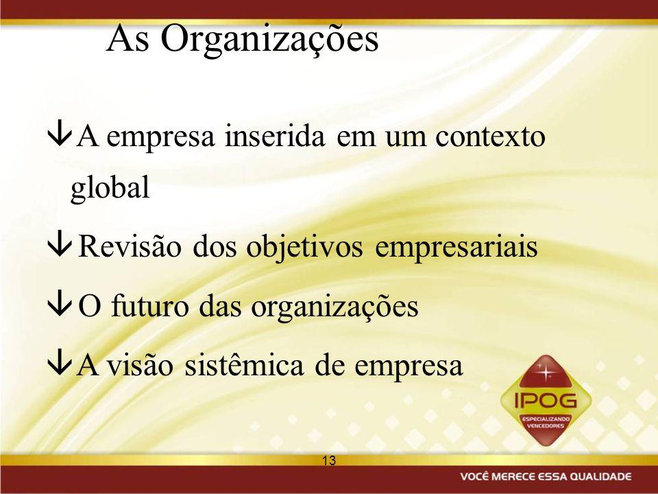 13 As Organizações â A empresa inserida em um contexto global â Revisão dos objetivos empresariais â O futuro das organizações â A visão sistêmica de